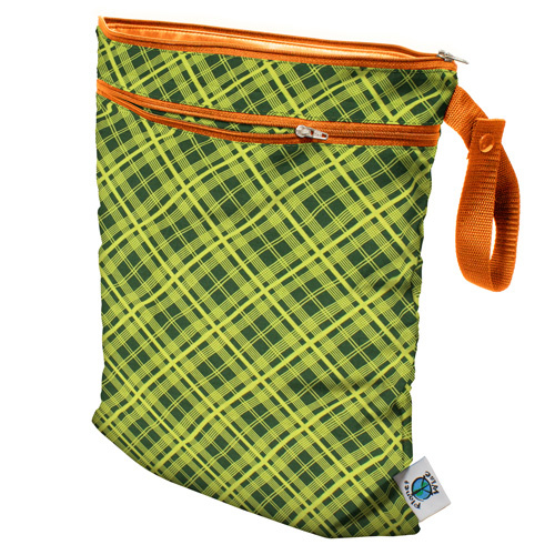 Planet Wise Wet/Dry Bag Lime Plaid